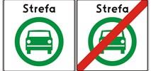 Jest znak drogowy strefy czystego transportu. Zielone auto