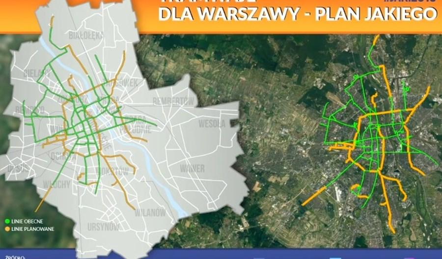 Tramwaje w Warszawie wg Jakiego: Kilkanaście nowych tras, w tym Trakt Królewski