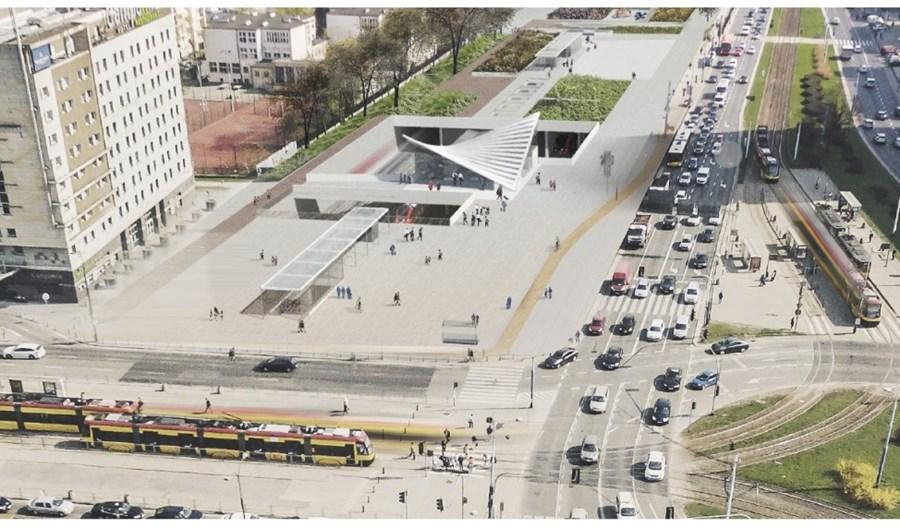 Warszawa Ochota ze schodami ruchomymi na nowy wiadukt Towarowej