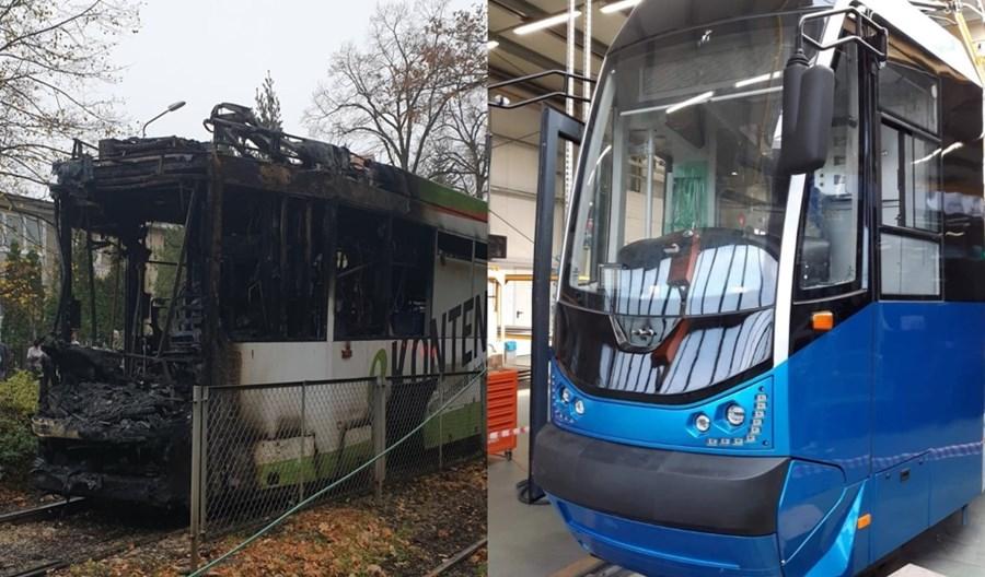 Wrocław: Spalony tramwaj Protram jak nowy Moderus