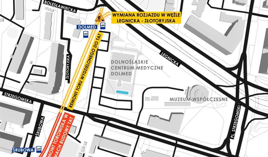 MPK Wrocław wyremontuje tory łączące Legnicką z TAT