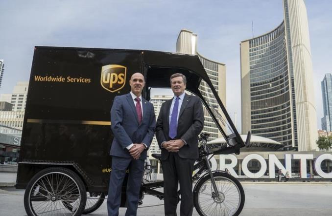 Toronto. UPS przenosi część swoich dostaw na rowery cargo