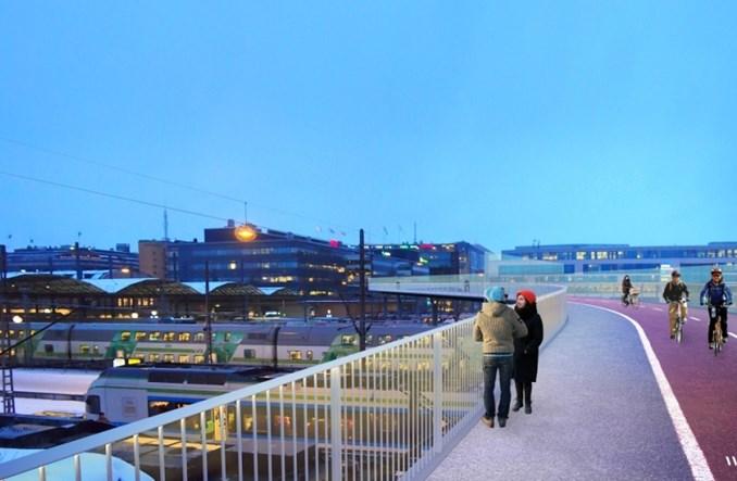 Helsinki. Most rowerowy nad dworcem kolejowym zamiast tunelu pod nim?