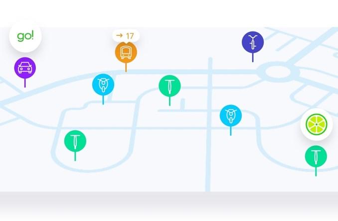 Vooom udostępnia planer podróży miejskich, który umożliwia dotarcie do celu na wiele sposobów, łącząc komunikację publiczną z pojazdami na minuty