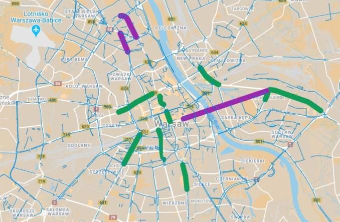 MJN apeluje o tymczasowe pasy rowerowe w Warszawie