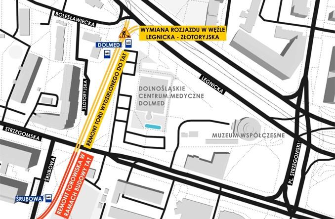 Wrocław wybrał wykonawcę remontu torowiska na Złotoryjskiej obok Dolmedu