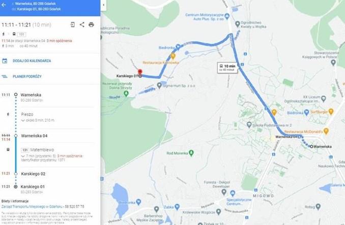 Gdańska komunikacja również na mapach Google'a