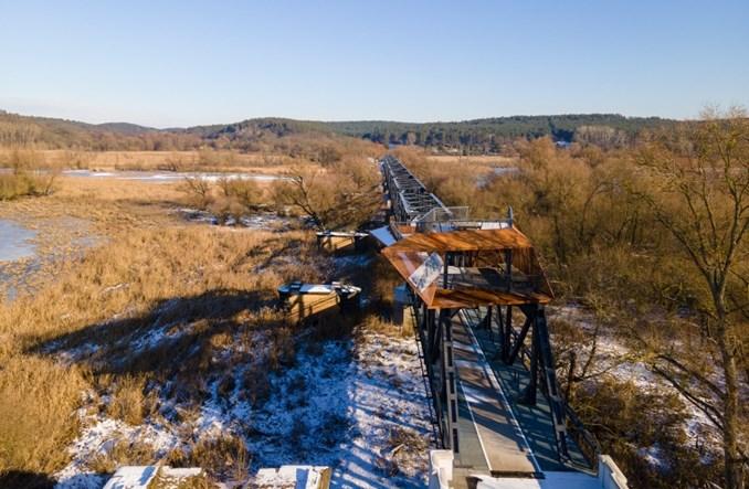 Zachodniopomorskie: Droga rowerowa na moście kolejowym Siekierki – Neurüdnitz. Piękne widoki