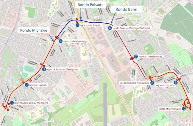 Kraków: Koncepcja budowy linii tramwajowej do Mistrzejowic na ukończeniu [schematy]