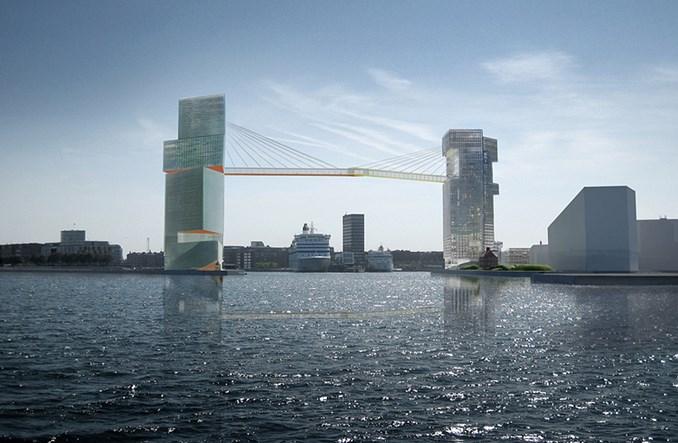 Kopenhaga: Most rowerowy między wieżowcami