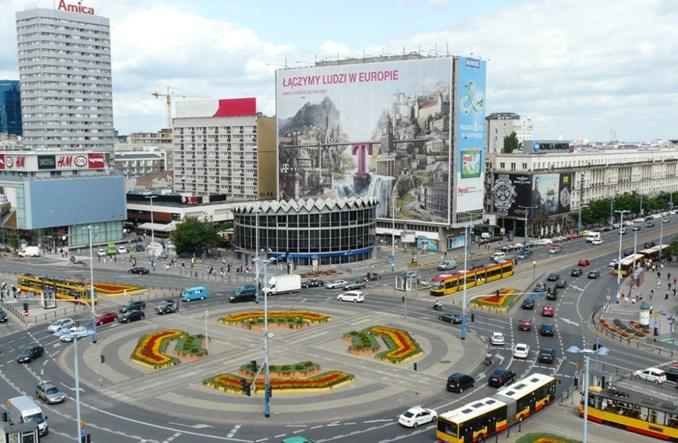 Rondo Dmowskiego z pasami. Będą szersze przystanki tramwajowe?