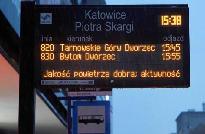Katowice jak Londyn. Informacje o jakości powietrza na przystankach